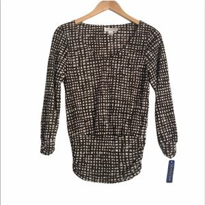 Pendleton Brown Windowpane Ruched Blouse